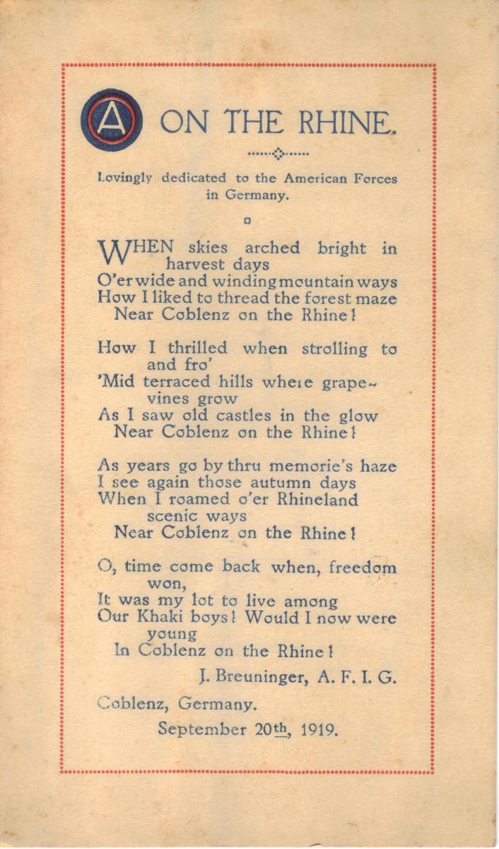 Poem written by Breuninger celebrating the Rhine River. Courtesy of Alexander F. Barnes