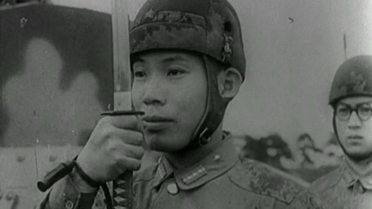 Japanese tank sergeant major with sword