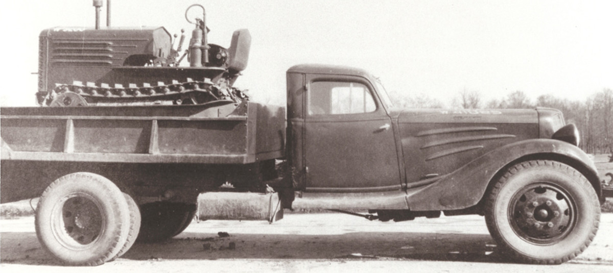 This photograph of a military dump-bodied Corbitt (registration no. W-4108[?]5) carrying a T-8 Light Tractor was taken in 1940 at Aberdeen, Maryland. US Army