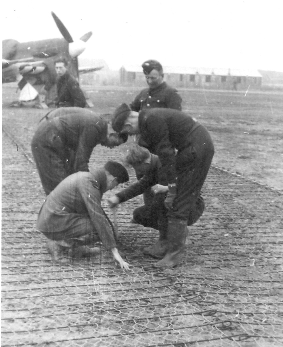 Wire mesh placed over the soft ground provided a sturdier surface for the planes.