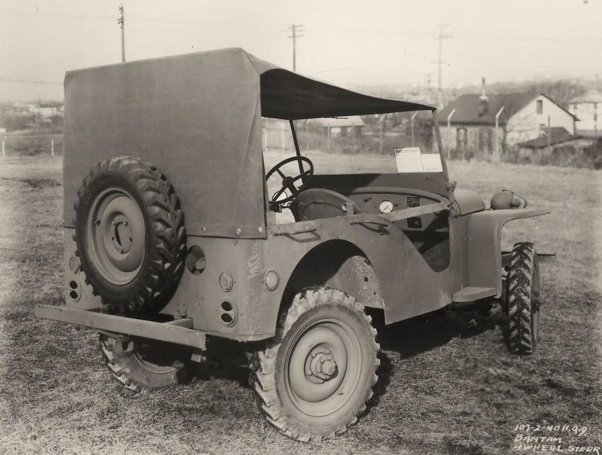 ca. 1940 photo of a Bantam 4-wheel steer Jeep