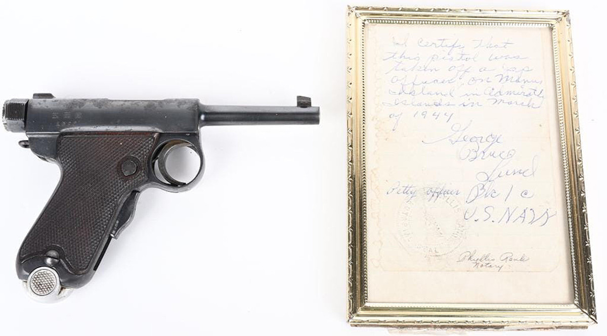 Japanese 'Baby Nambu,' 7mm, manufactured 1903-1923 at Tokyo Arsenal as private-purchase pistol. Accompanied by notarized statement from US Navy officer stating he captured the gun from a Japanese officer in the Admiralty Islands, March 1944.