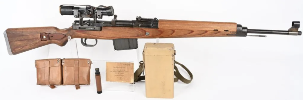 Walther World War II German K43 semiautomatic rifle, caliber 8X57, manufactured in 1945. Extremely fine condition, matching numbers, 97%+ original finish remaining on receiver, barrel, trigger assembly and bolt carrier assembly. ZF4 scope and accessories.