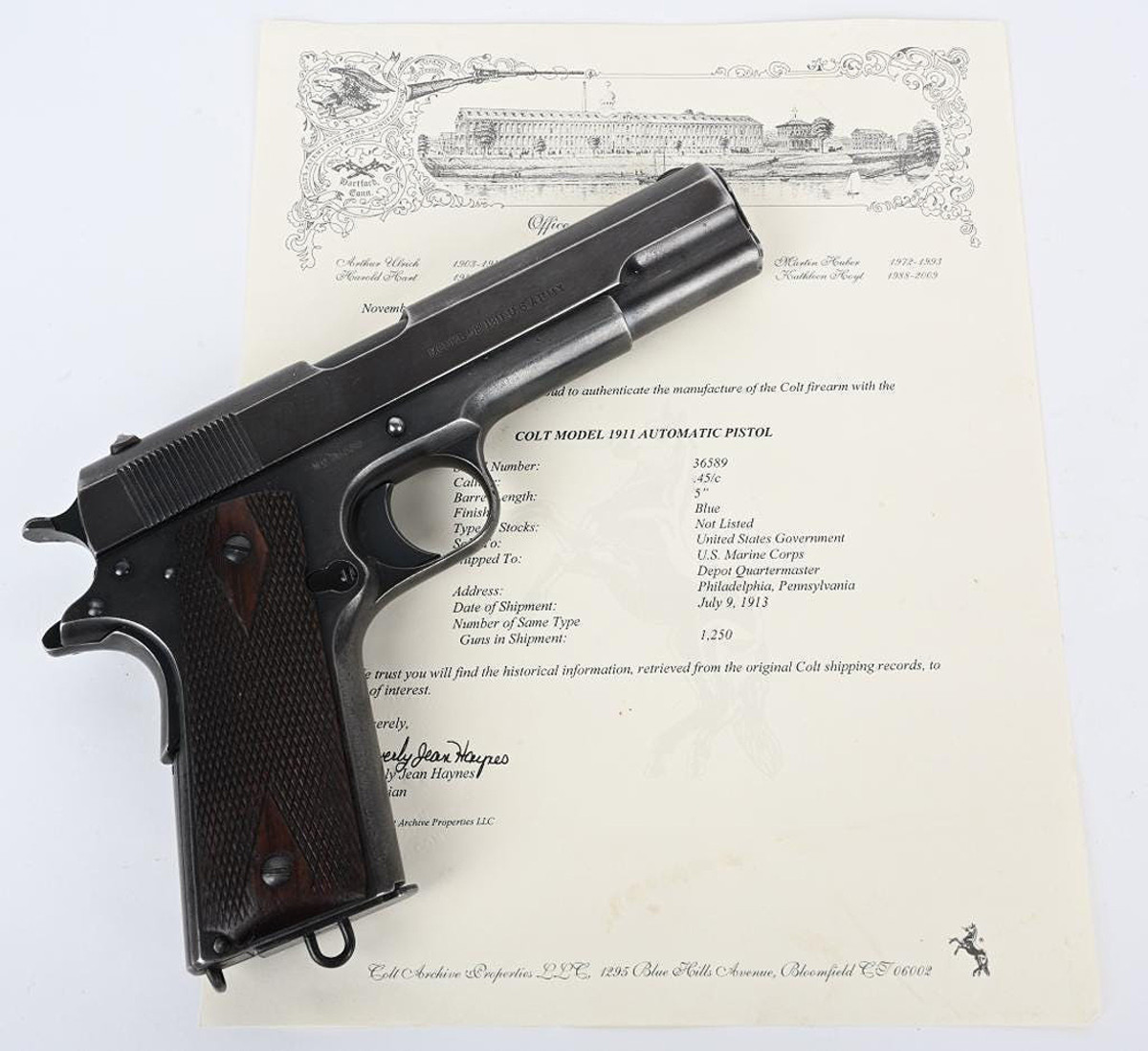 High-condition Colt 1911 with documentation, .45 ACP, one of only 1,250 such pistols shipped to US Marine Corps' Philadelphia depot on July 9, 1913. Stamped 'UNITED STATES PROPERTY' and 'MODEL OF 1911 U.S. ARMY.'