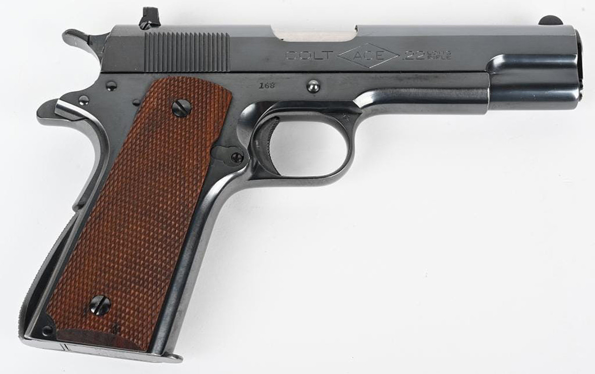 Near-new 1st-year (1931) Colt ACE .22 pistol, 3-digit serial number, from pre-war era during which Colt produced their finest-quality automatic pistols. A top-1% example of its type.