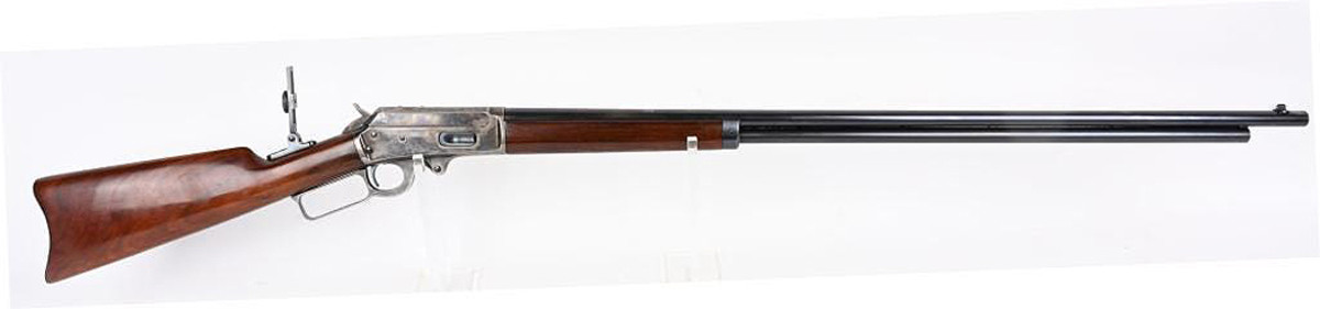 Museum-quality Marlin Model 1893 rifle made in 1905, .38-.55 caliber, one of very few Marlins made with special 32-inch barrel and almost certainly one of the finest surviving rifles of its type.