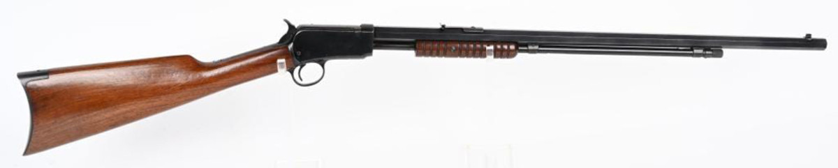Rare high-condition Winchester 1890 .22-caliber long rifle, one of the last of this particular model to be built during WWII. Superior example in 95% or better condition, with near-mint stocks and bore.