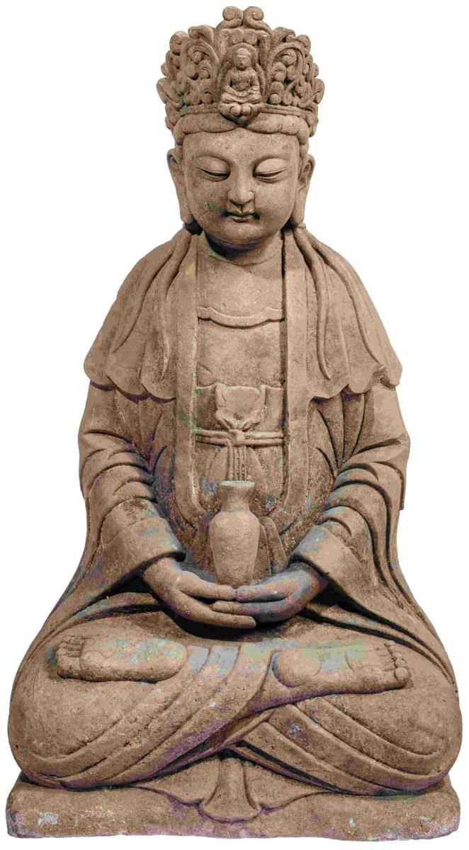 Eindrucksvolle Steinfigur der Guanyin, China