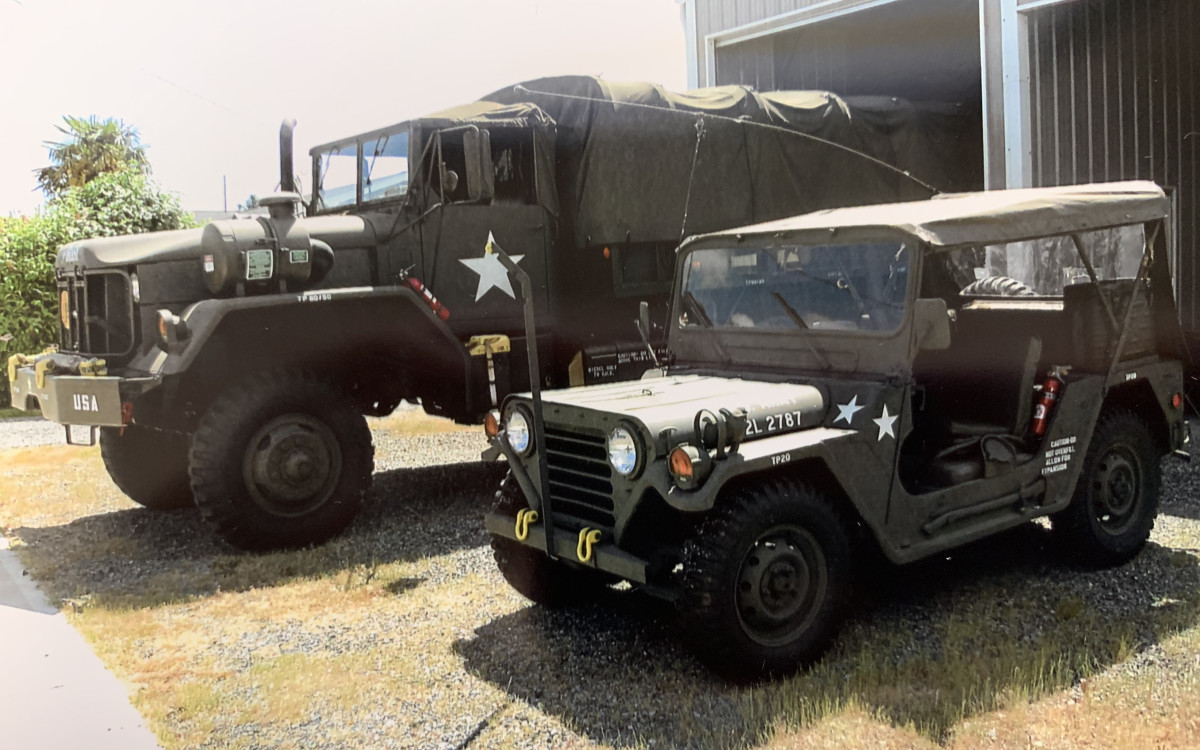 Larry Johnson's Ford-built 1970 M151A2 sharing space with his 1970 AM General M813 5-ton.