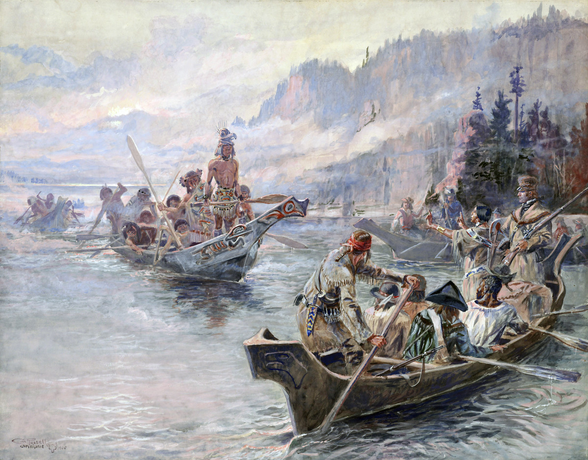 The Corps of Discovery meet Chinooks on the Lower Columbia, October 1805. Painted by Charles Marion Russell