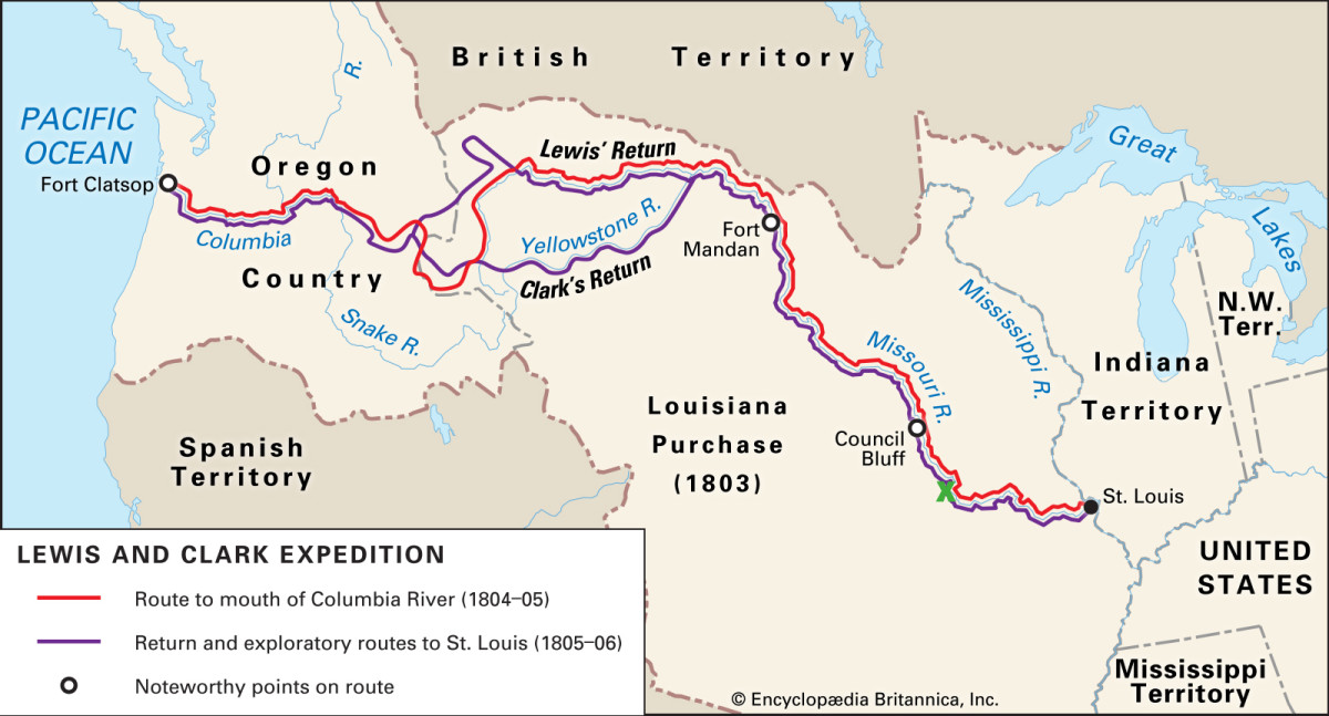 """Route of the Corps of Discovery's Expedition. The green """"x"""" below Council Bluffs marks the approximate location of the Corps' Fourth of July celebration."""