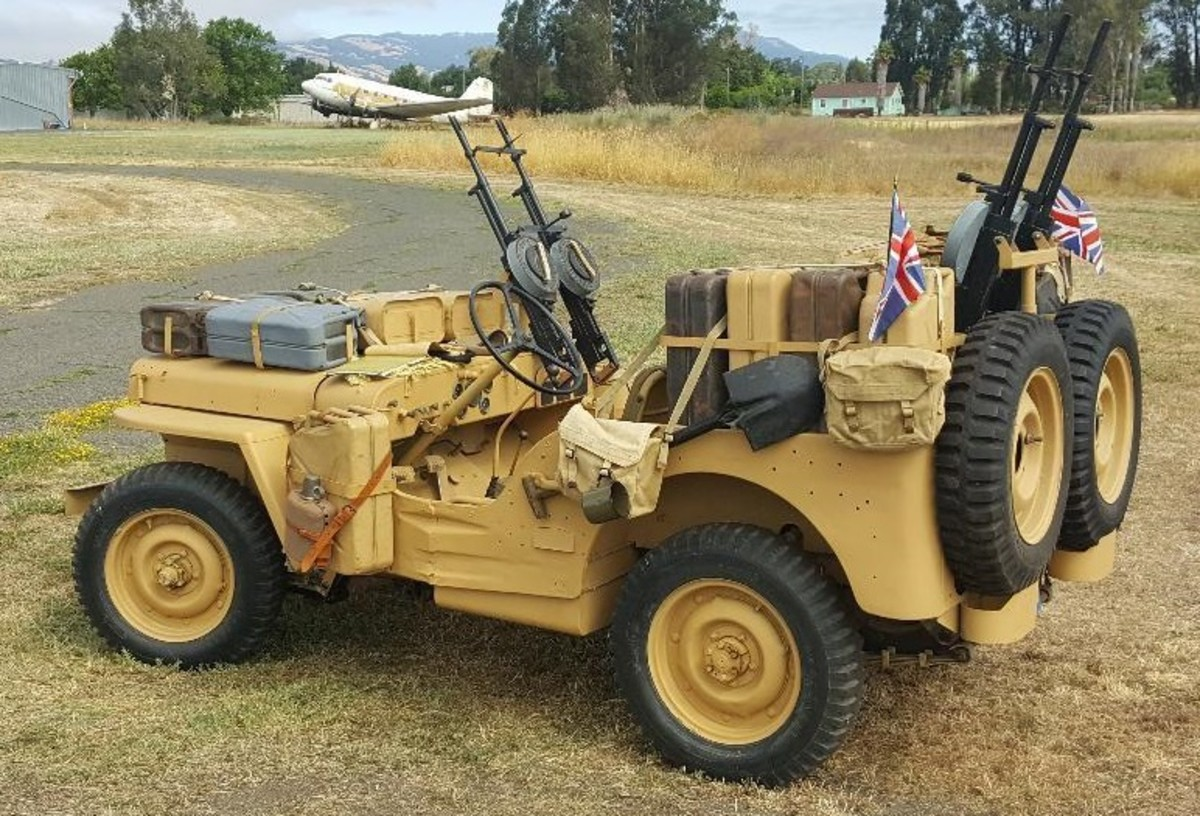John Neuenburg's March 1942 GPW was built at the Richmond, California plant. John uses it to represent a WWII British L Detachment, Special Air Service vehicle.