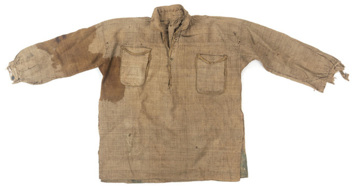 Sgt. Henry L. Mills used this shirt of a dead Confederate soldier to staunch the bleeding from a gunshot wound to the leg.