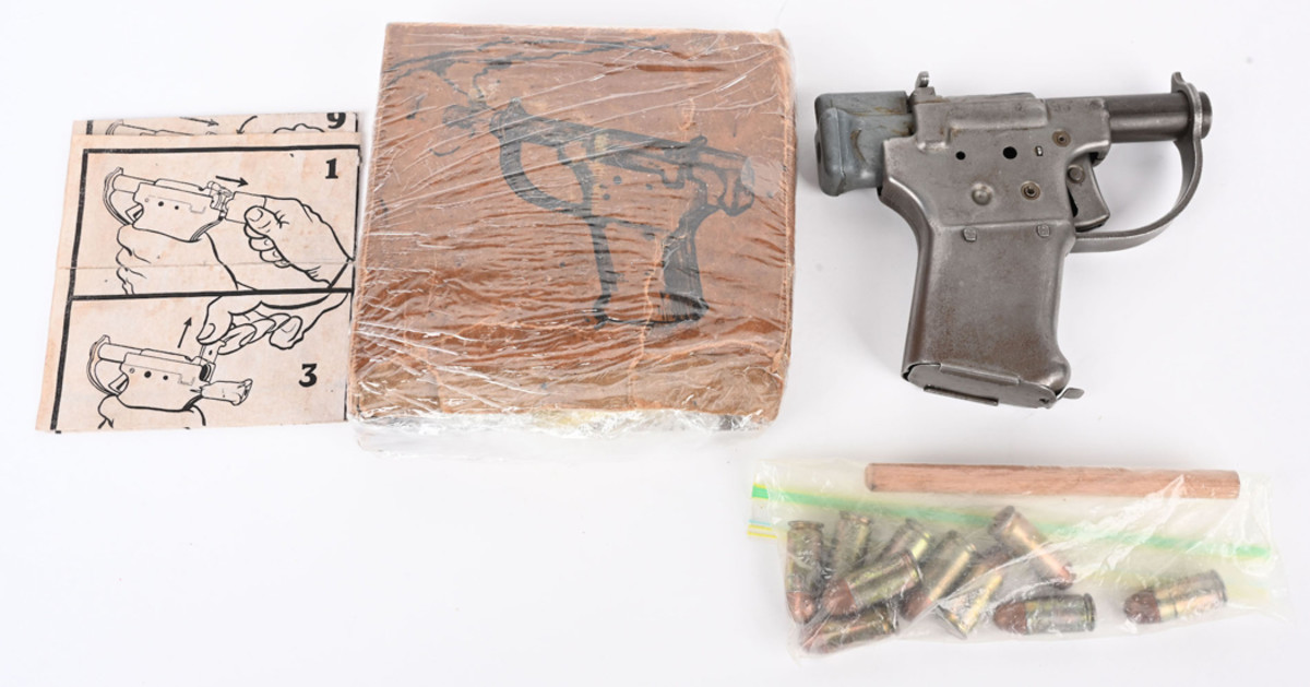 Exceptional example of a little-known 1943 US FP-45 Liberator pistol, with original box. Produced in secrecy by GM to supply to resistance forces for use against WWII Axis powers. Sold for $8,400