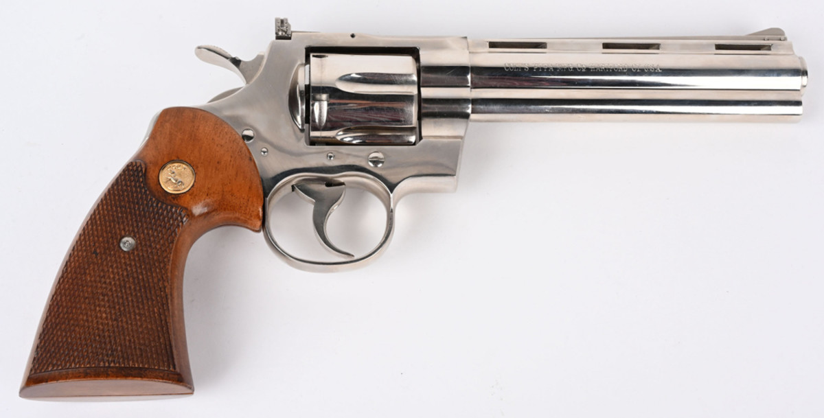 Near-new 1st-generation Colt .357 Magnum Python, full factory nickel, pre-letter prefix made in 1968. Appears never to have been fired. Sold for $7,500 against an estimate of $3,500-$4,500