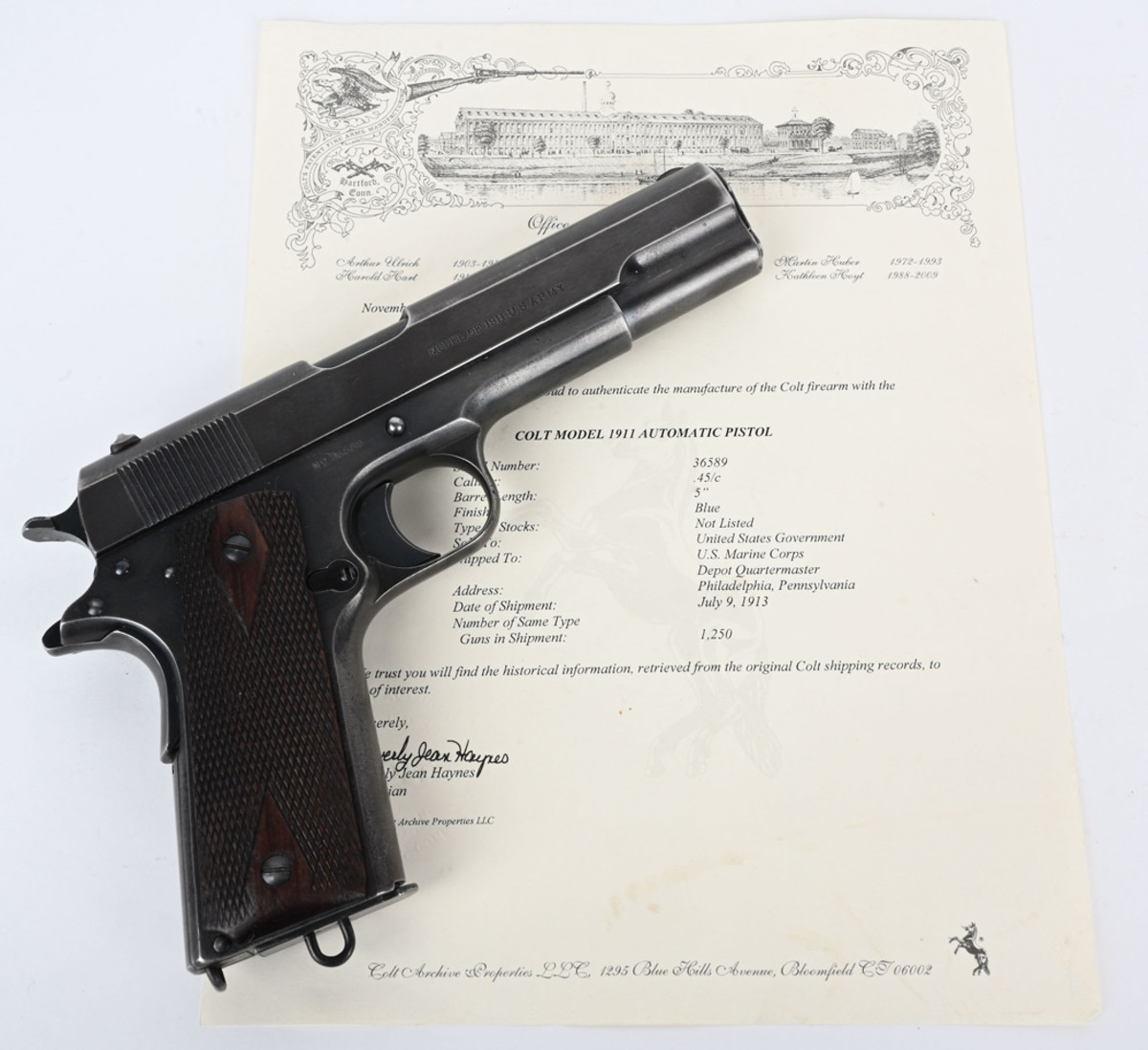 High-condition Colt 1911 with documentation, .45 ACP, one of only 1,250 such pistols shipped to US Marine Corps' Philadelphia depot on July 9, 1913. Stamped 'UNITED STATES PROPERTY' and 'MODEL OF 1911 U.S. ARMY.' Sold for $18,000, the predicted high estimate.