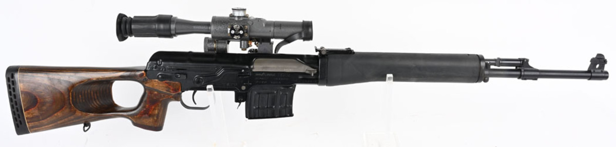Factory-cased Russian Izhmash Dragunov 'Tiger' rifle, 7.62X54 caliber, manufactured in 1993. Sold for $9,600, nearly four times the high estimate