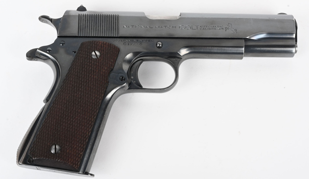 Stunning pre-WWII (1934) National Match Colt Government Model .45-caliber pistol, hand-tuned and assembled to the highest standards. Sold for $9,000 against a $4,000-$6,000 estimate