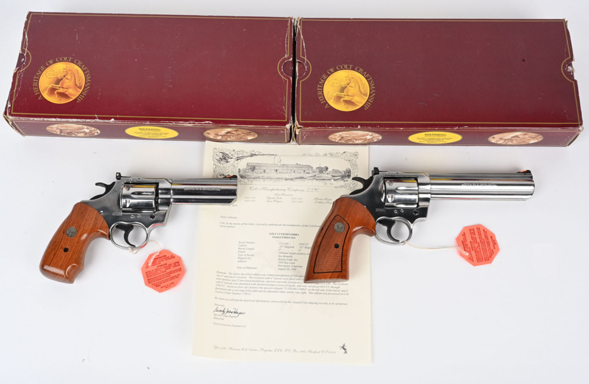 """Colt .357 Magnum custom Cobras manufactured in 1989 in very limited issue of 250 two-gun sets. Rarest of all Colt """"Snake"""" revolvers, with serial numbers that match those shown on accompanying factory boxes. Documented with letter from Colt Archives. Sold above high estimate for $13,200"""