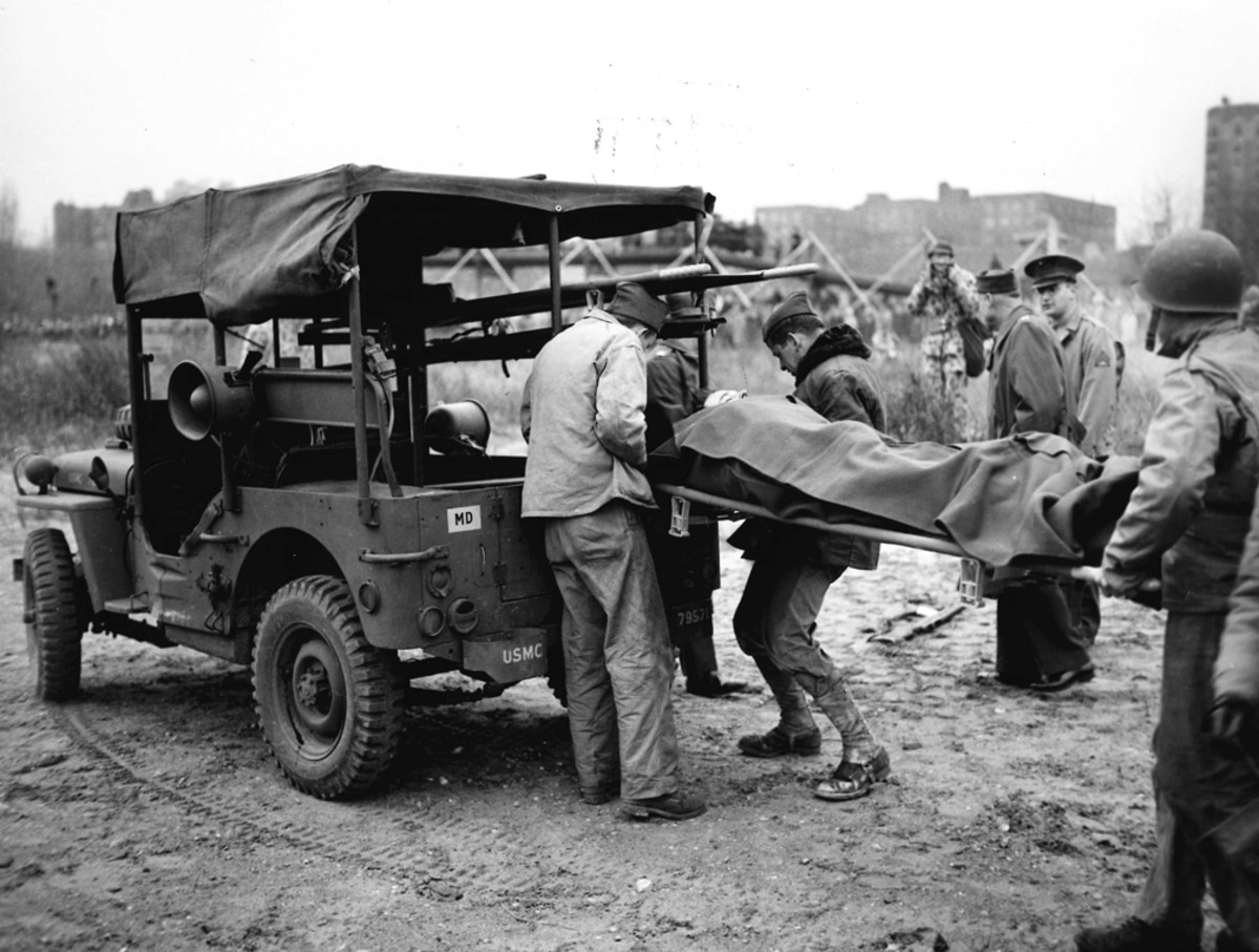 Thought to be a photo of an demonstration exercise, no information is available on this photo of a Holden style Jeep being loaded.