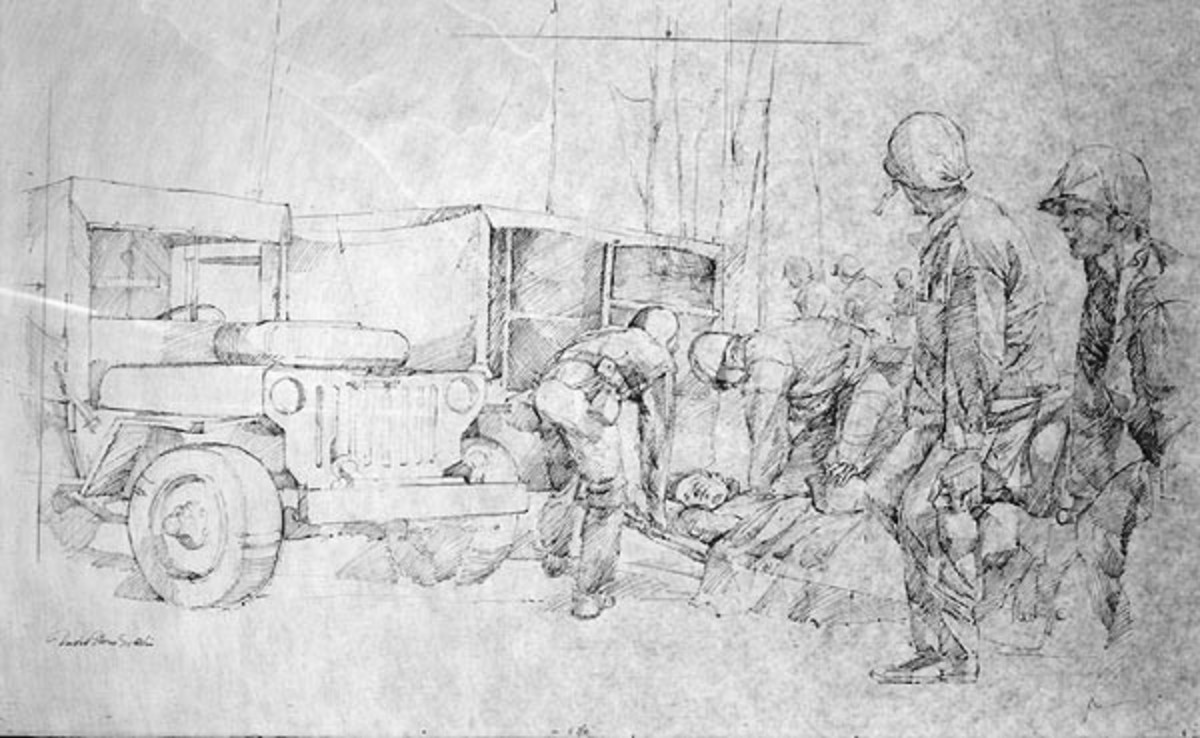 Drawing, Pen and Ink on Paper; by David Stone Martin; C. 1943; Framed Dimensions 28H X 36W