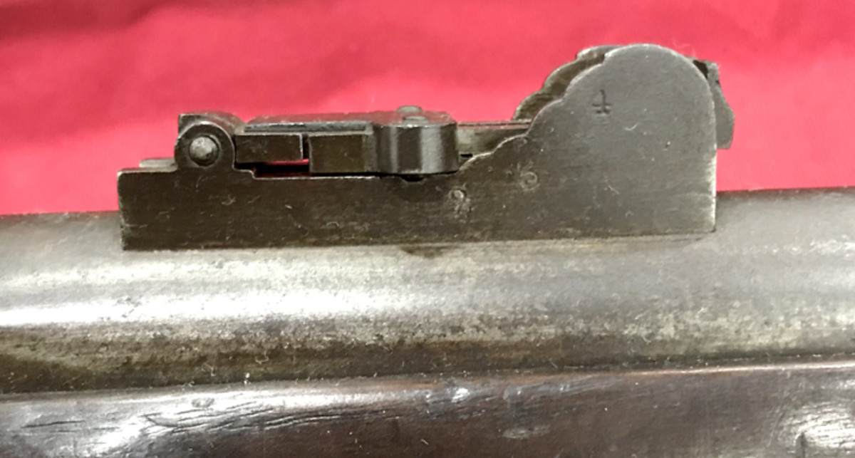 """These rifles were fitted with long-range sights (a copy of the English P1853 rifle-musket sight) soldered 2-7/8"""" from the breech. The 2-3/16""""-long side wall of each sight was marked with """"2"""", """"3"""" and """"4"""" 100-yard gradients. The folding adjustable ladder was marked from 500-1,000 yards."""