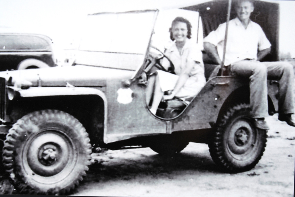 Mabel Bigby Worsham sitting in Bantam Jeep issued to the U.S. Coast and Geodetic Survey Team.