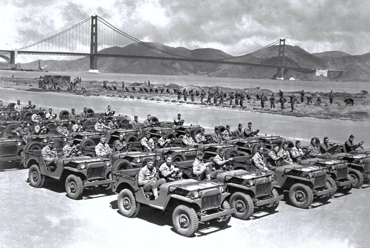 Rows of Willys MA at Crissy Field near San Francisco, California, 1941
