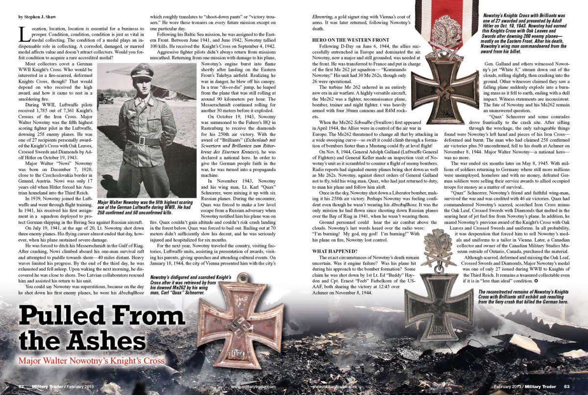 The original article as it appeared on pages 52-53 of the February 2013 issue of Military Trader.