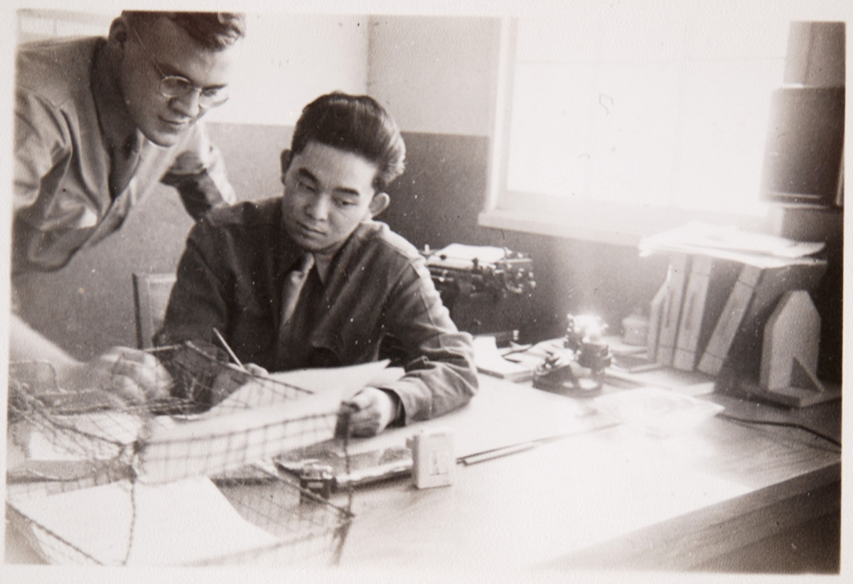 1st Sergeant John M. Graf and Company Clerk, Ted Oye, Detached MP Company, Camp Hale, 1943.