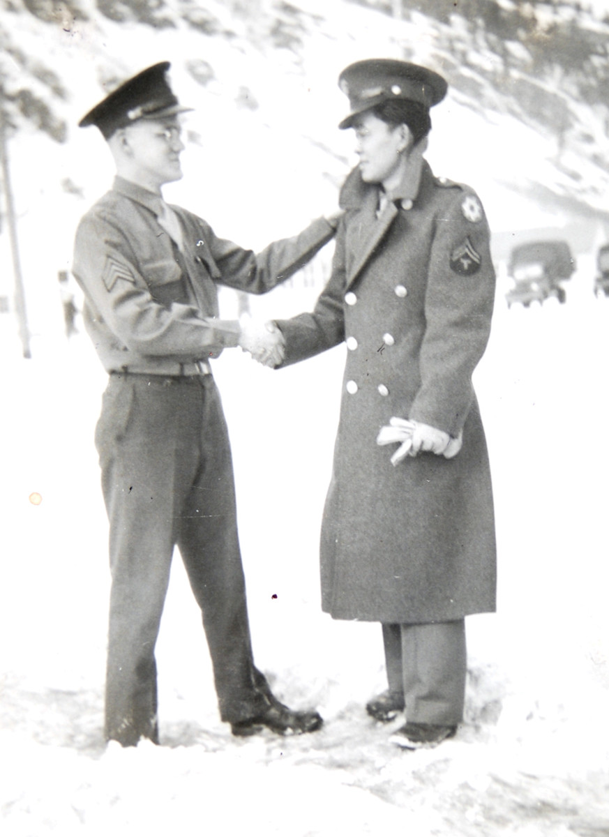 """The day Ted left for Camp Shelby, Mississippi, to join the 442nd Regimental Combat Team, he posed for a """"good-bye"""" picture with his buddy, John Graf."""