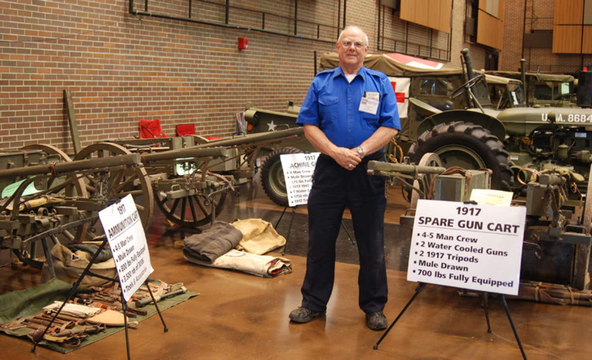 Leonard Grummell with his three WWI US machine gun carts at the 2021 MVPA Convention in South Bend, Indiana.