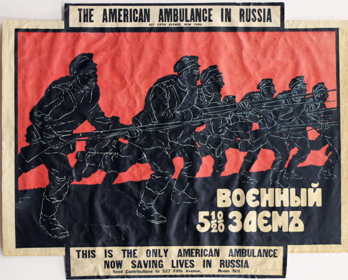 RA-4_1920.1.592_SP Edit Russian poster featuring attacking Russian troops as a fund raiser for the American Ambulance in Russia