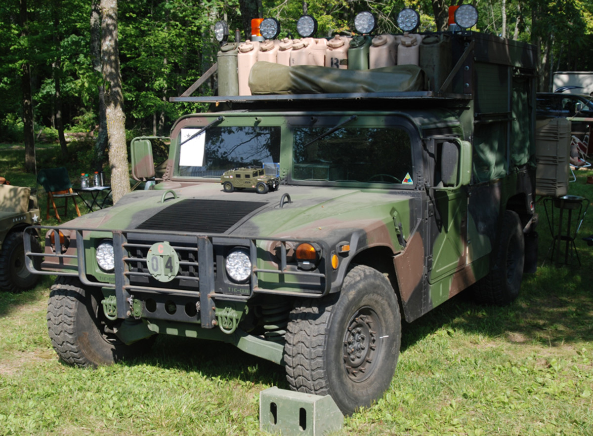 """Steve Leppla earned the """"Best Christmas Tree Simulation"""" for his brightly lit 1992 HMMWV.."""