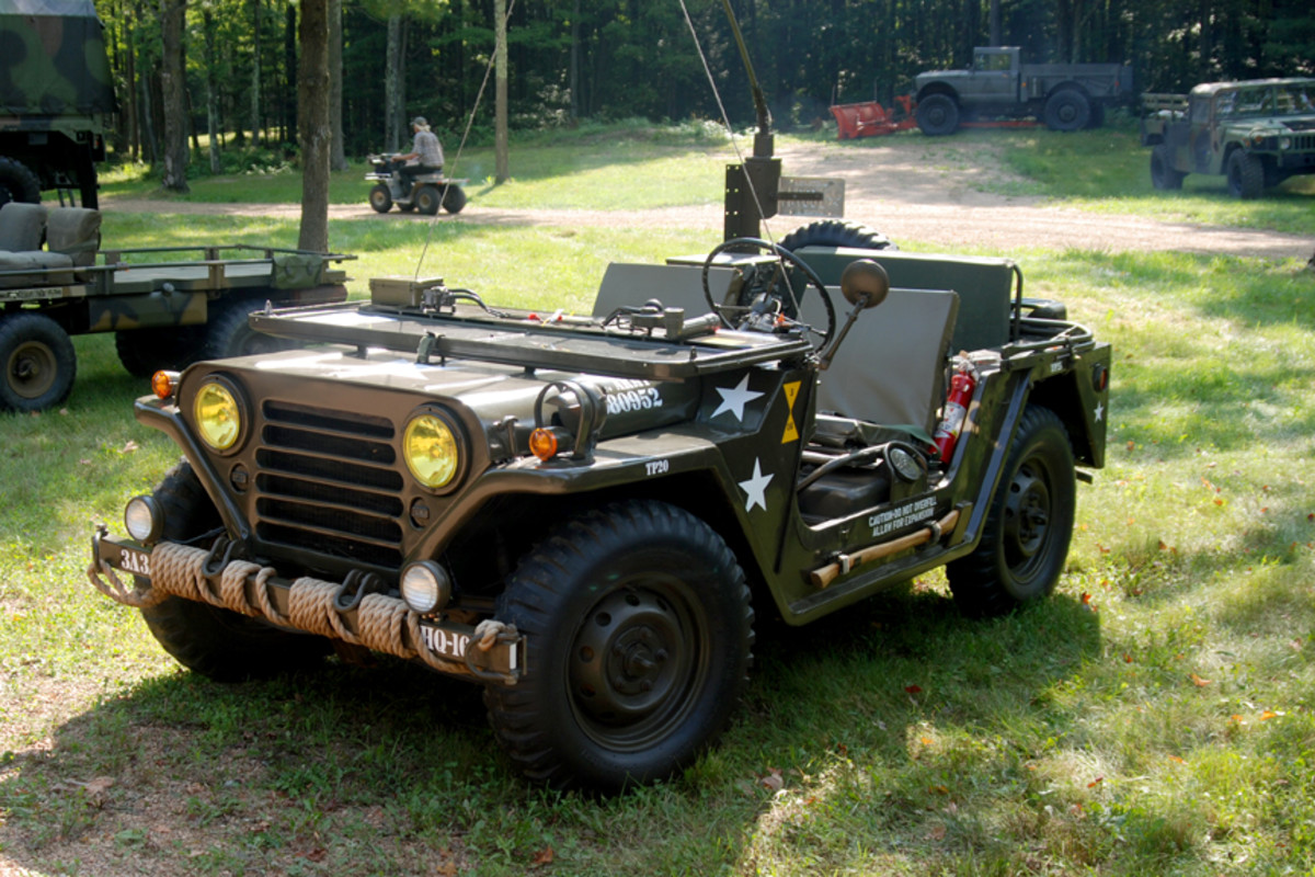 """With yellowish headlights, Rich & Dave Westbury's M151A1 garnered the """"Best Prepared for a Foggy Morning"""" award."""