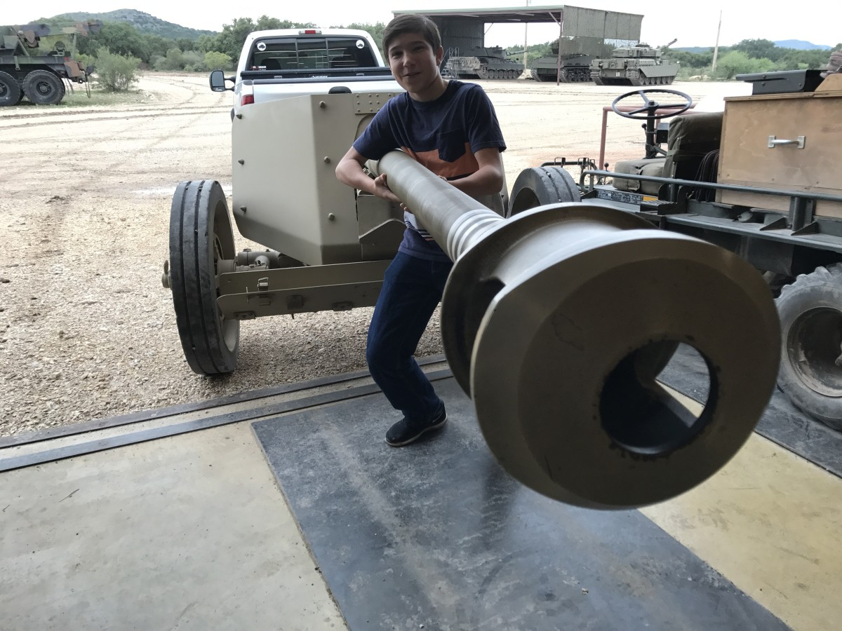Before this, Jesse only experienced WWII weapons in his video games. Imagine his surprise when he got to hang onto an actual WWII German PAK-40 Anti-tank weapon! It is currently the only fully functioning PAK-40 in the world.