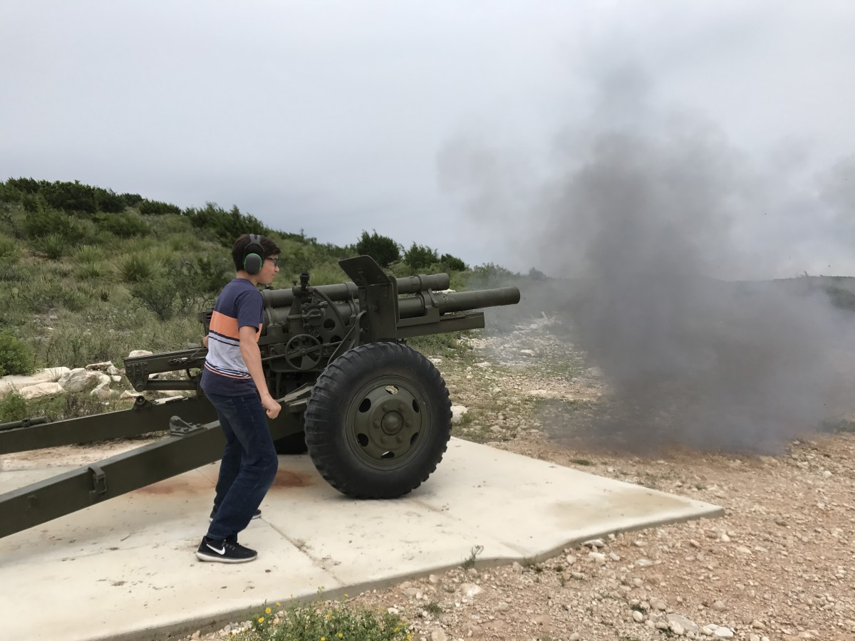 BOOM! How often does a kid get to shoot a 105mm Howitzer, the workhorse of the American field artillery?