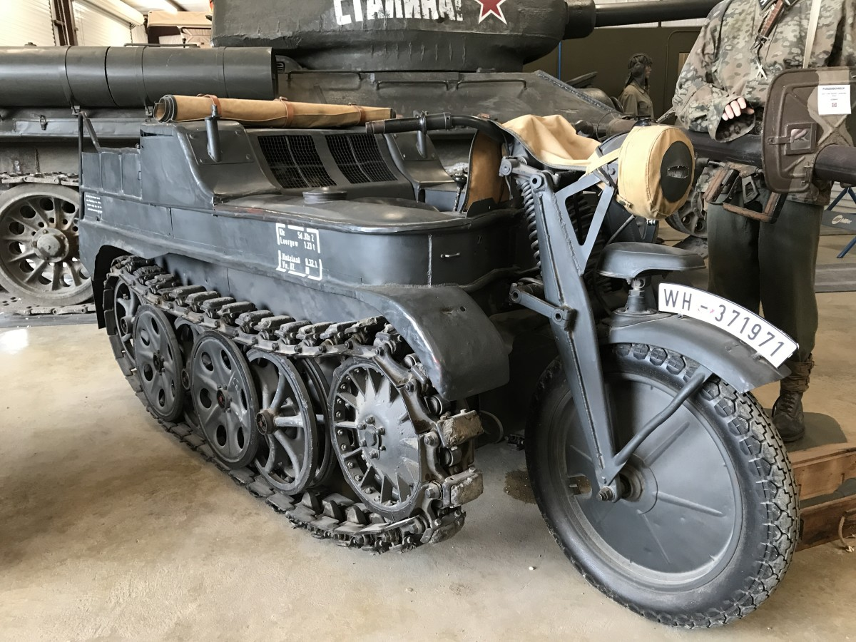 """The German Kennenkrad SdKfz-2 tracked """"motorcycle"""" still has the bullet holes from the action it saw."""