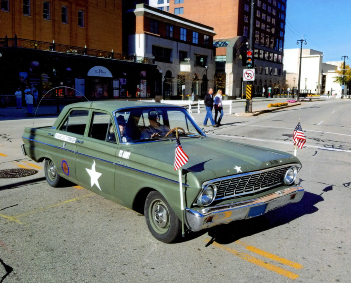Kent Oberle's 1964 Ford Falcon Army Staff Car. The 144 http://cu.in., 6-cylinder, 3-speed standard had a US Army identification tag screwed on the underside of the trunk lid. This photo was taken in Milwaukee after the Veteran's Day Parade on November 5, 2016.