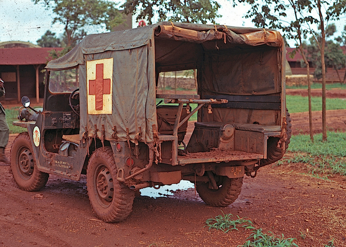 Although technically not a jeep except by nickname, the ambulance variant of the M151 MUTT, is the M718. As with the M606 and Mahindra units, the M718's body was extended in the rear while retaining the standard wheelbase, and stretcher racks installed.